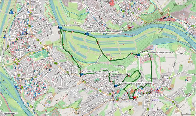 Karte Burgaltendorf A2 im Grundmaßstab der übrigen Wanderungen