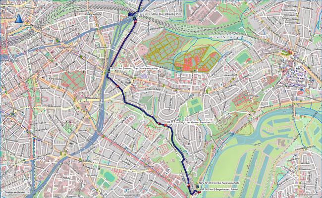 Naturroute Karte 1 Essen-Bergerhausen - Essen-Huttrop