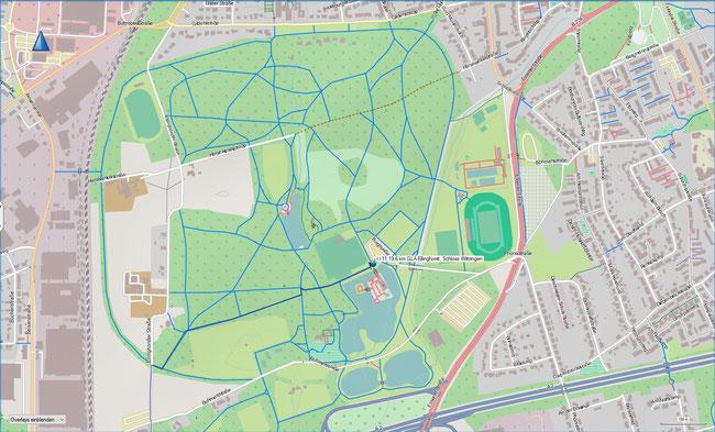 Raute 11 Karte 4a Ausschnittvergrößerung Freizeitstätte Wittringen mit dem abends beleuchteten 4 km langen Ringweg als Laufstrecke. Das benachbarte Stadion ist für ca. 37.000 Zuschauer ausgelegt.