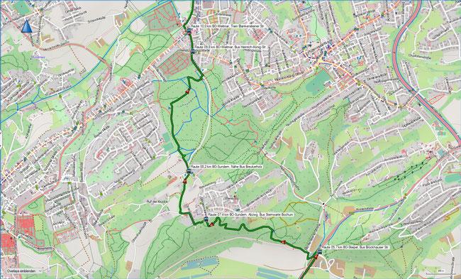 Raute Katzenstein - Gysenbergpark Karte 2 Bochum-Stiepel - BO-Weitmar