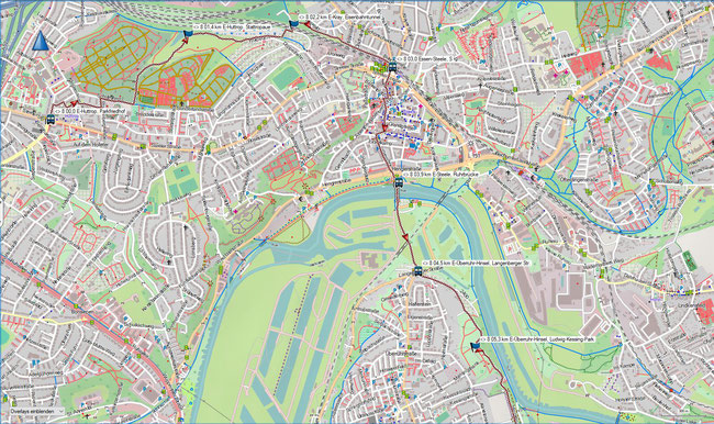 Raute 8 Karte 1 Essen-Huttrop, Parkfriedhof - Essen-Überruhr-Hinsel, Ludwig-Kessing-Park
