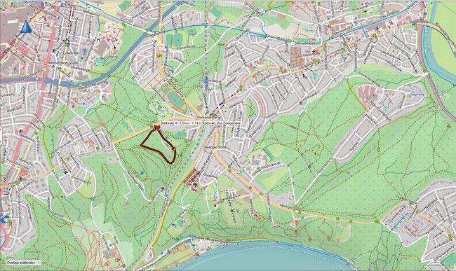Karte Stadtwald A1 im Grundmaßstab der übrigen Wanderungen