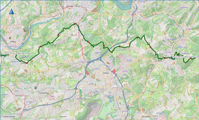 X17 2. Etappe Übersichtskarte Essen-Kettwig - Velbert-Langenberg