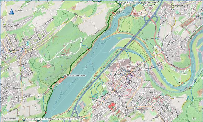 Bergbauwanderweg Bochum Süd Detailkarte 1 BO-Querenburg, Hafen Heveney - BO-Stiepel, Abzwg. Kemnader Brücke