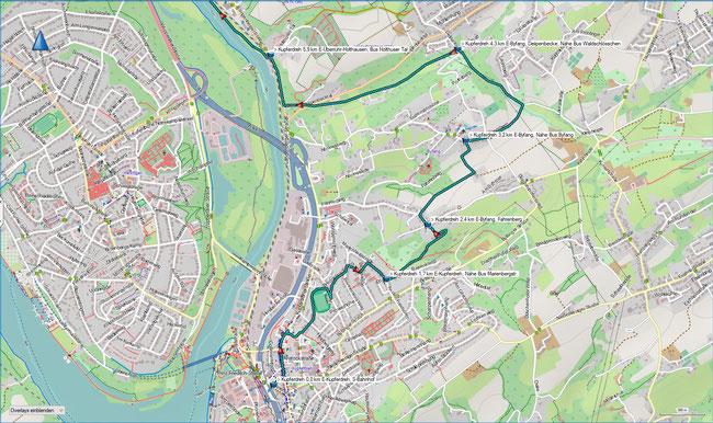 Zugangsweg Karte 1 Essen-Kupferdreh, S-Bahn -  E-Überruhr-Holthausen, Bus Holthuser Tal