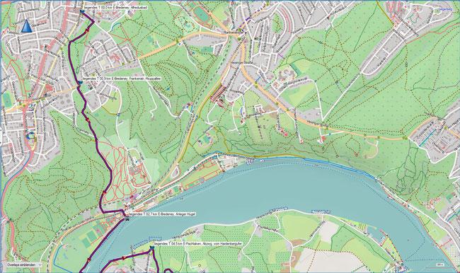 liegendes T Bredeney - Kupferdreh Karte 1 E-Bredeney, Alfredusbad - E-Bredeney, Stauwehr Baldeney