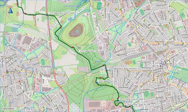 Wittringer Weg Karte 3 E-Karnap, Alte Landstr. (Stadtbahn) - Gladbeck-Brauck, Bus Kösheide