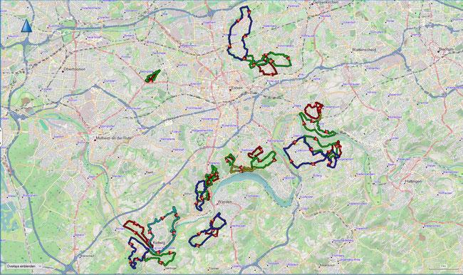 Übersicht der A-Wege im Essener Stadtgebiet