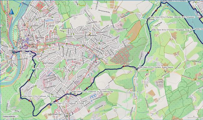 gefülltes Dreieck Karte 1 E-Werden, S-Bahn - E-Fischlaken, Seilscheibe Pörtingssiepen
