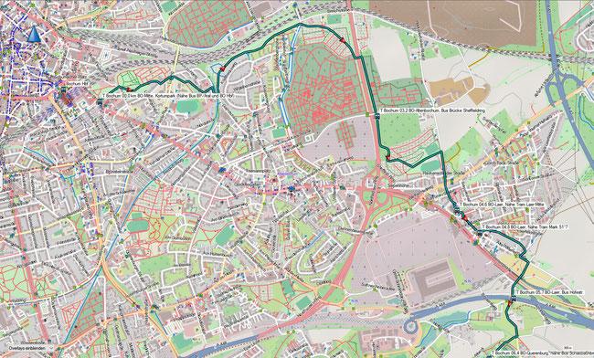 T Bochum Detailkarte 1 BO-Zentrum, Kortumpark - BO-Laer