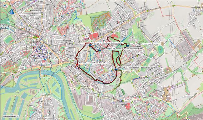 Karte Steele / Horst A1 im Grundmaßstab der übrigen Wanderungen