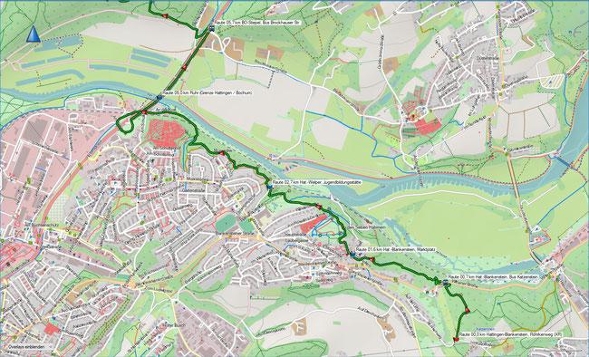 Raute Katzenstein - Gysenbergpark Karte 1 Hattingen-Blankenstein - Bochum-Stiepel