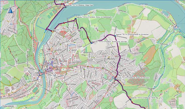 liegendes T Bredeney - Kupferdreh Karte 2 E-Bredeney, Stauwehr Baldeney - E-Heidhausen, Iländerweg
