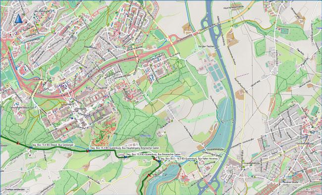 Bergbauwanderweg Bochum Süd Detailkarte 4 BO-Stiepel, Grimbergstr. - BO-Querenburg, Hafen Heveney4