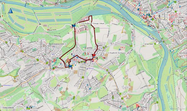 Karte Burgaltendorf A1 im Grundmaßstab der übrigen Wanderungen