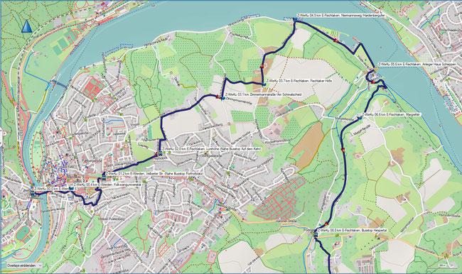 Z-Weg Essen-Werden - Essen-Kupferdreh Karte 1 E-Werden, S-Bahnhof - E-Fischlaken, Bus Hespertal