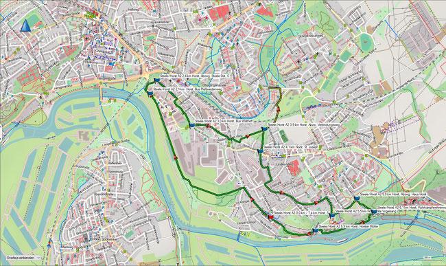 Karte Steele / Horst A2 im Grundmaßstab der übrigen Wanderungen