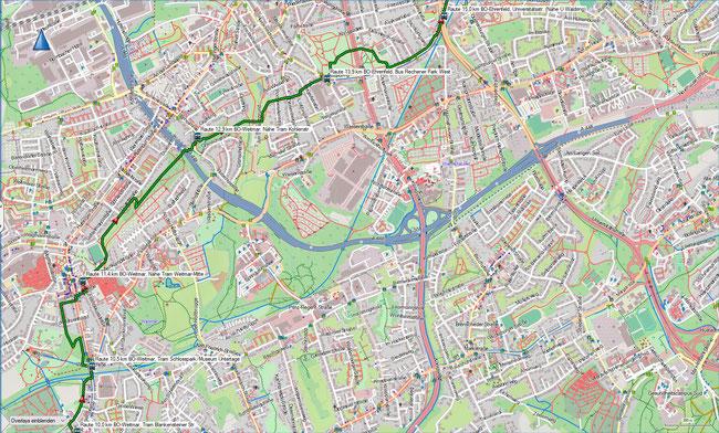 Raute Katzenstein - Gysenbergpark Karte 3 BO-Weitmar - BO-Ehrenfeld