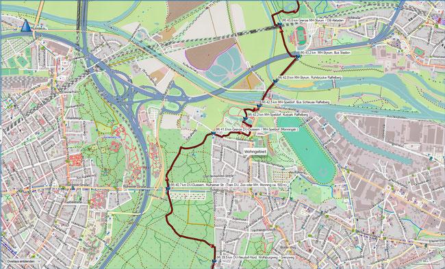 Rund um Mülheim Karte 9 DU-Neudorf-Nord, Wolfsburgweg - OB-Alstaden, Ruhrpark