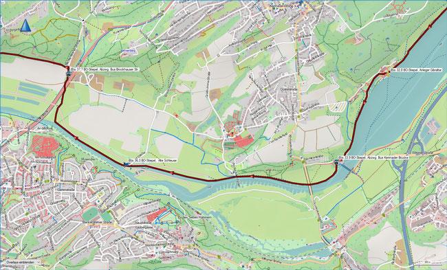 (B) Rund um Bochum Detailkarte 7 BO-Stiepel, Kemnader See - BO-Stiepel, Brockhauser Str.
