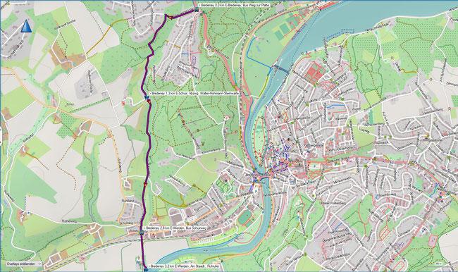 Karte Zugangsweg E-Bredeney, Bus Weg zur Platte - E-Werden, Am Staadt