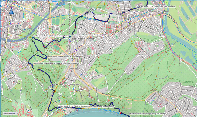 gefülltes Dreieck Karte 3 E-Bredeney, Berührung des Seeuferwegs - E-Rellinghausen, Nähe Annenkapelle