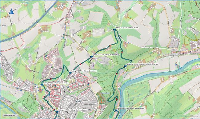 Karte Kettwig A4 im Grundmaßstab der übrigen Wanderungen (Nordteil)