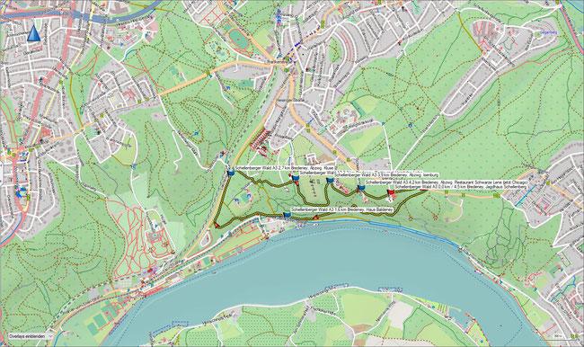 Karte Schellenberger Wald A3 im Grundmaßstab der übrigen Wanderungen