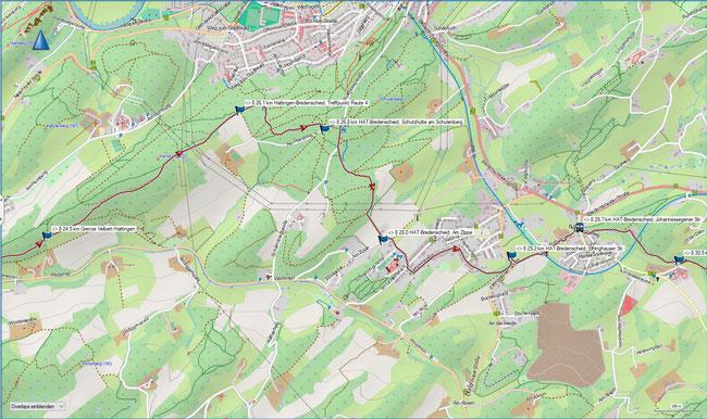 Raute 8 Karte 6 Stadtgrenze Velbert / Hattingen  - Hattingen-Bredenscheid, Johannessegener Str.