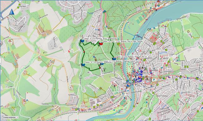 Karte Heissiwald A2 im Grundmaßstab der übrigen Wanderungen