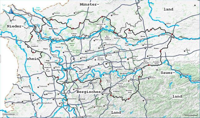Karte mit der Grenze des Regionalverband Ruhr und zusätzlich eingefügten geographischen Namen und Orten