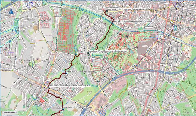 offenes Dreieck Karte 4 E-Haarzopf, Haus Stein - E-Holsterhausen,  Halbe Höhe (Stadtbahn)