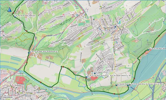 Bergbauwanderweg Bochum Süd Detailkarte 2 BO-Stiepel, Abzwg. Kemnader Brücke - BO-Stiepel, Malakowturm