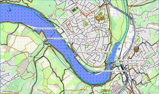 Baldeneyseerundweg Karte Ostteil