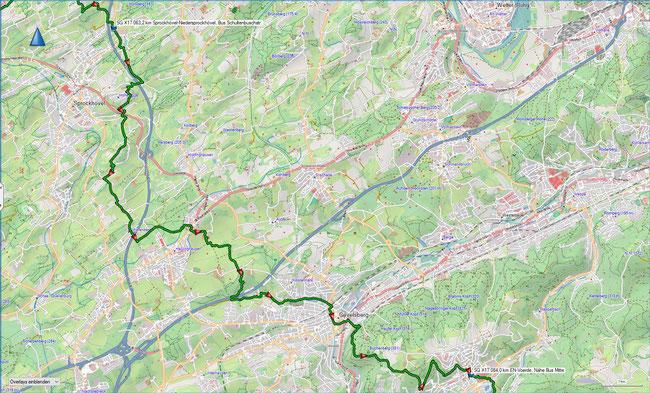 X17 4. Etappe Übersichtskarte Sprockhövel-Niedersprockhövel - Ennepetal-Voerde