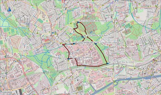Karte Stoppenberg A1 im Grundmaßstab der übrigen Wanderungen
