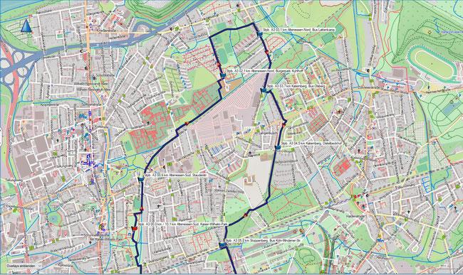Karte Stoppenberg A3 im Grundmaßstab der übrigen Wanderungen (Nordteil)