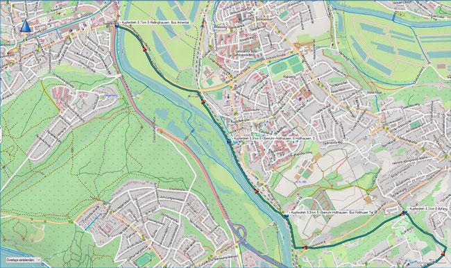 Zugangsweg Karte2 E-Überruhr-Holthausen, Bus Holthuser Tal - E-Rellinghausen, Bus Annental