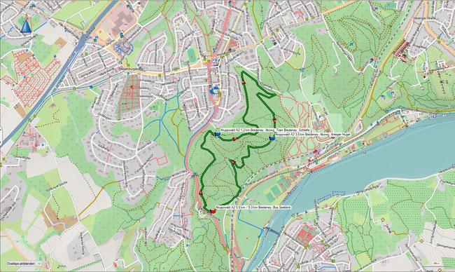 Karte Kruppwald A2 im Grundmaßstab der übrigen Wanderungen
