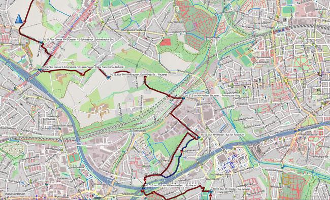 Rund um Mülheim Karte 12 MH-Winkhausen - MH-Heißen, Eichbaum (der blaue Track ist eine gleichlange durchs Grüne führende Alternativstrecke zum offiziellen Weg entlang der Blumendeller Straße)