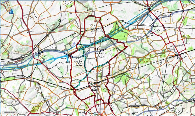 Karte des Stadtbezirks V mit den zugehörigen Stadtteilen