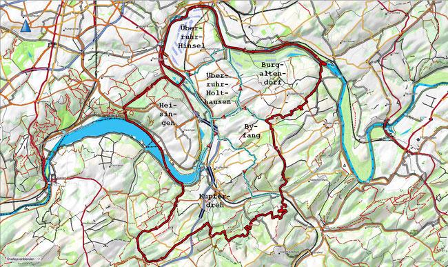 Karte des Stadtbezirks VIII mit den zugehörigen Stadtteilen
