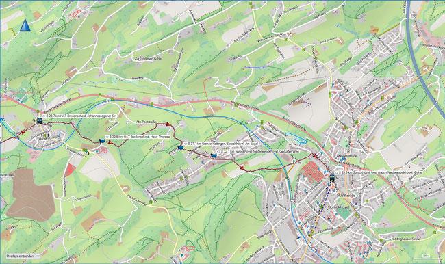 Raute 8 Karte 7 Hattingen-Bredenscheid, Johannessegener Straße -  Sprockhhövel-Niedersprockhövel, Kirche