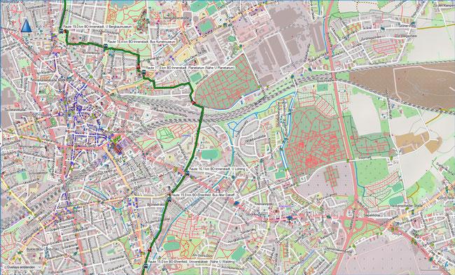 Raute Katzenstein - Gysenbergpark Karte 4 BO-Ehrenfeld - BO-Innenstadt