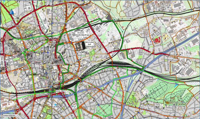 Karte des Essener Ostviertels