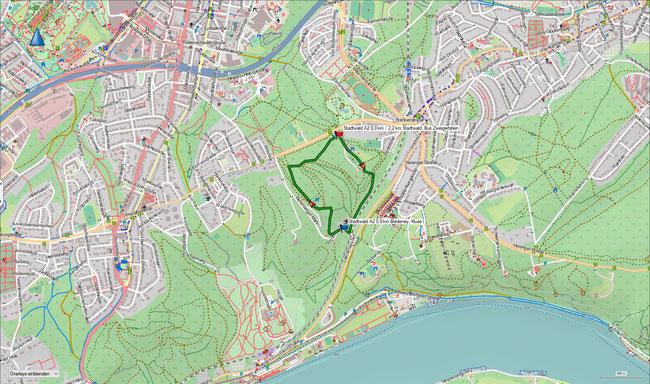 Karte Stadtwald A2 im Grundmaßstab der übrigen Wanderungen
