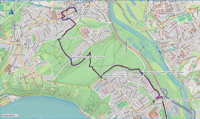 gefülltes  Quadrat Karte 1 Essen-Rellinghausen, Tram Rathaus - E-Heisingen, Bus Memelstr.