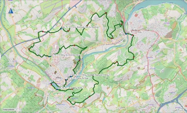 Kettwiger Panoramasteig Übersichtskarte mit wichtigen ÖPNV-Haltestellen