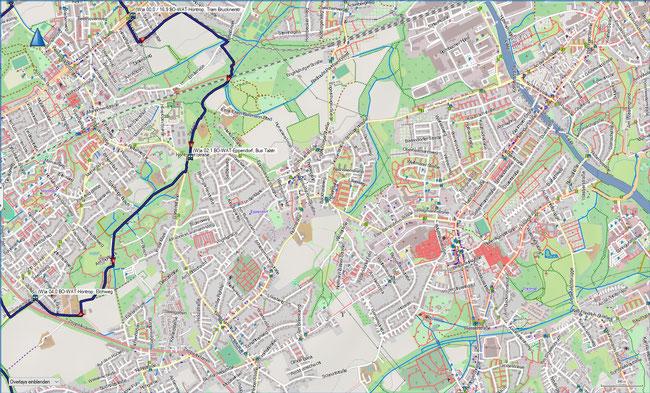 (W) Rund um Wattenscheid Detailkarte 1 BO-Höntrop, Brucknerstr. - BO-Höntrop, Elchweg