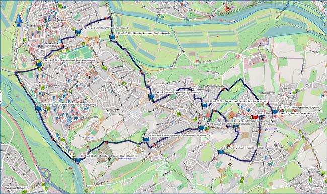 Karte Burgaltendorf A3 im Grundmaßstab der übrigen Wanderungen
